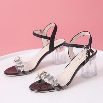 Chunky Heel Sandals Women's Summer New Women's Sandals Transparent