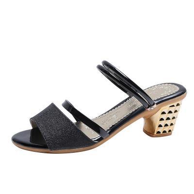 New Summerleisure High Heels Women's One-word Buckle Sandals