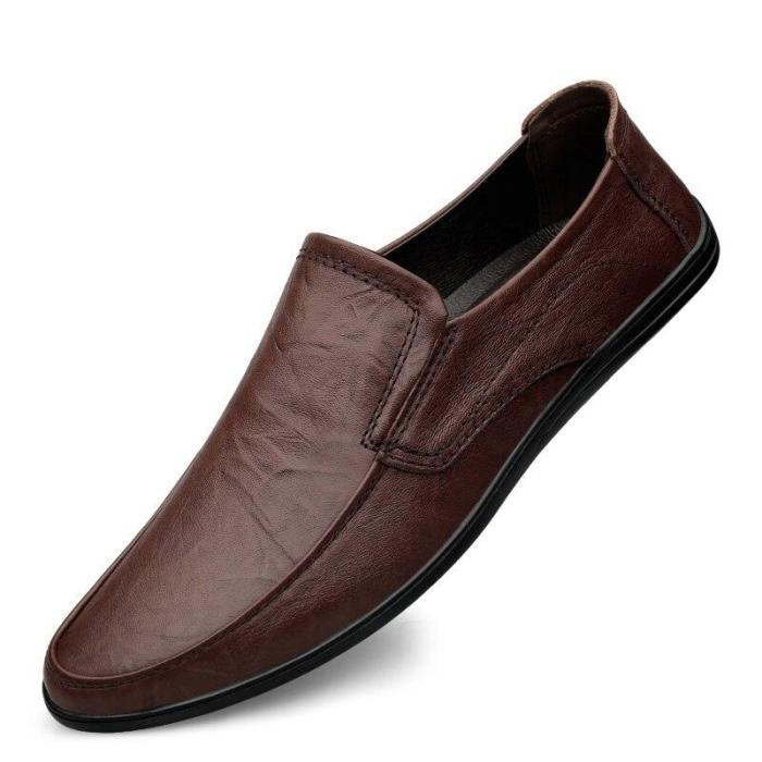 Men Boat Shoes Genuine Leather Summer Man's Shoe Slip on Leather Footwear Loafers ventilation holes Breathable Soft Flats
