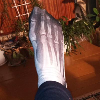 Adult Adult Unisex Summer Low Cut Short Over Ankle Boat Socks Funny Skeleton Bone 3D Digital Printing Gradient Color Rib Trim