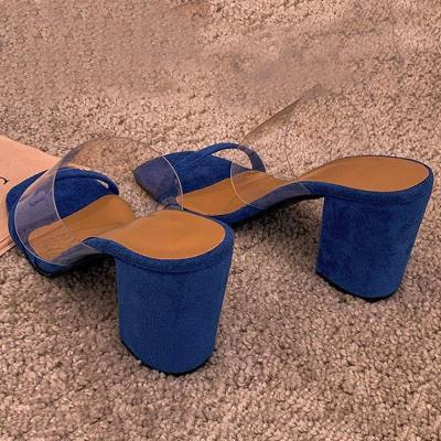 Chunky Heel Thread Flip Flop Slip-On Western Color Block Slippers