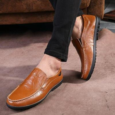 Leather Men Casual Shoes Mens Loafers Breathable Slip on Italian Driving Shoes Plus Size
