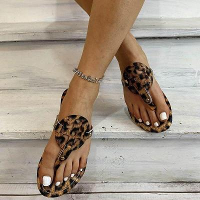 Women Rome Sandals 2020 Summer Leopard Print Retro Gladiator Non-slip Flat Slippers Ladies Flip Flops Shoes