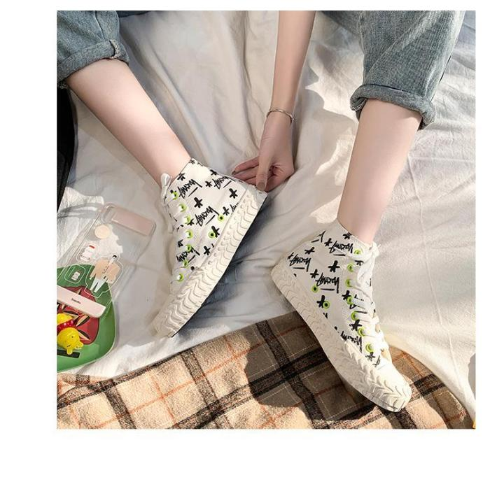 Cute Girly Style Lightweight Casual High-top Flat Black Women's Black Canvas Shoes Fashionable