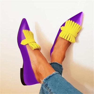 Women Artificial Pu&Suede Color Block Tassel Slip-On Flats