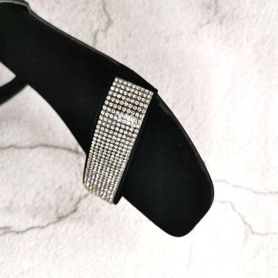 Square Head Rhinestone Sexy Women Sandals Slip-on Cool Black New Summer Shoes Woman Flat with Bling Comfort Sandalias