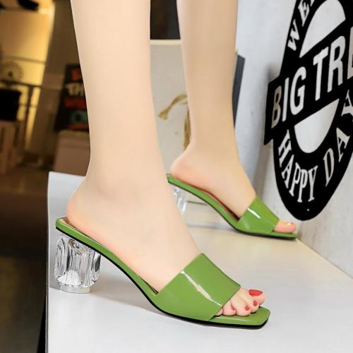 Shoes Women outside Summer Slippers with heels transparent crystal jelly heels Slides fashion peep toe