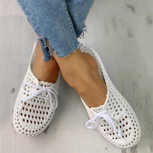 Women's Sandals Summer Flats Retro Style Shoes Slippers PU Leather