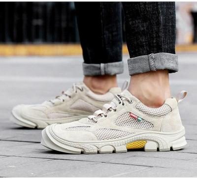 Man Leather Sneakers Suede Summer Male Mesh Shoes Breathable Men's Shoe Outdoor Walking Footwear