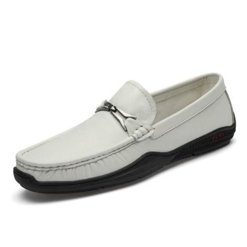 Mens Leather Shoes Slip on Summer Autumn Genuine Leather Boat Footwear Breathable White Loafers Moccasins Soft