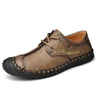 Handmade Casual Shoes Leather Loafers Comfortable Men's Shoes Split Leather Flat Men Sneakers