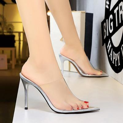 Fashion Slippers Transparent Sexy Sandals Pointed Toe Heels Party Shoes Women Pumps