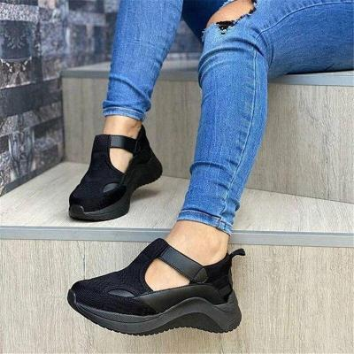 Women Summer Pumps Chunky Med Mid Heels Plus Size Breathable Mesh Sneakers Wedges Shoes Woman Female