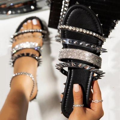 Slippers Women's Rivet Slides Bling Flats Ladies Crystal Sandals Shoes Summer Female Plus Size Fashion