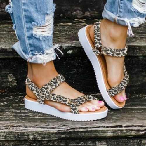 Women Summer Gladiator Sandals Platform Flat Low Heel Peep Toe Hook&Loop Fashion Casual Beach Ladies Shoes