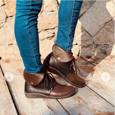 Snow Genuine Leather Ankle Flat Shoes Short Vintage Boots with Fur for Women