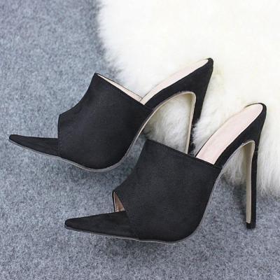 Slip-On Stiletto Heel Flip Flop Rubber Plain Slippers