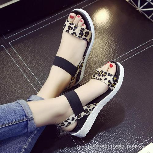 2020 Summer New Women's Sandals Sexy Leopard Print Women's Shoes