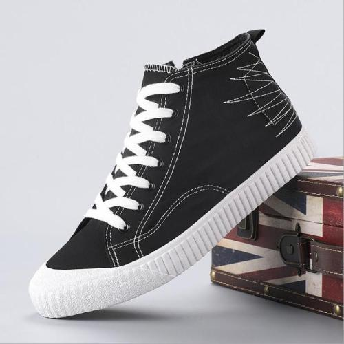 New Hight-Top Canvas Boots Men's New Fashion Style All-match Casual Cloth Shoes Breathable Round Toe Sneaker Boots