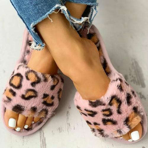 Winter Women House Slippers Faux Fur Fashion Warm Shoes Slip on Flats Cozy Home Furry Slippers