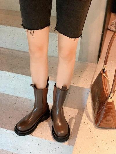 Platform Women Thick Heel Ankle Boots Slip-on Elastic Cord Flat Autumn Winter Ladies Short