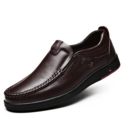 Men's Genuine Leather Large Size Flats Shoes Soft Anti-slip Driving Shoes