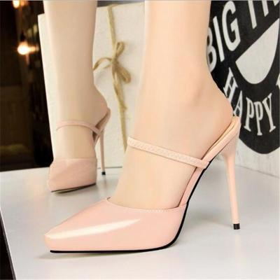 Elastic Band Concise Patent Leather Women Slippers Pointed Toe Fashion Platform High Heels 12cm Shoes Women's Sexy Slippers