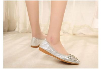 Crystal Ballet Floral Flat Shoes Rhinestone Women Flower Pointed Toe Golden Shoes Loafers