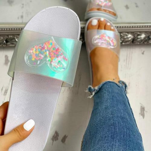 Summer Women Slippers Bling Candy Color Flat Heel Open Toe Slides Daily Outdoor&Indoor
