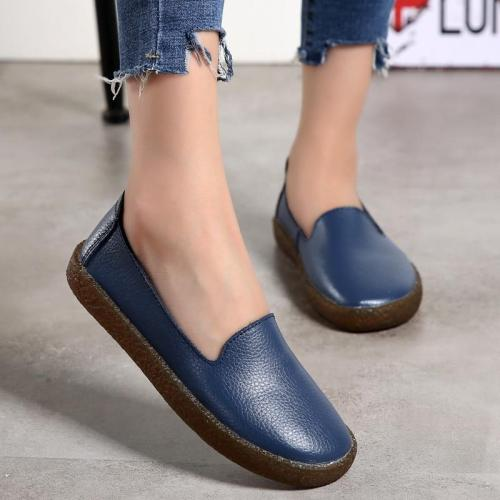 Big Size Women Flats Slip on Leather Casual Women Loafers Shoes Spring Autumn Blue Comfortable Moccasins Ladies Shoes