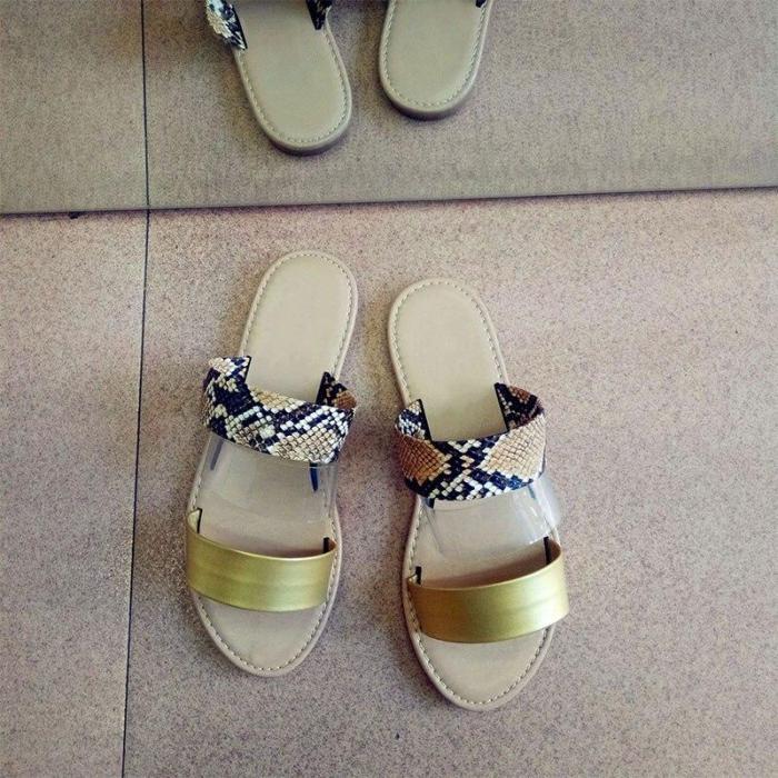 Woman Flat Sandals Mix Color Slip on Transparent Peep Toe Casual Beach Shoes Ladies Female