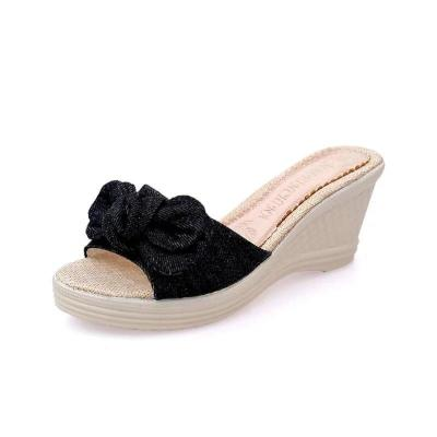 New Wedges Shoes Women Summer Peep Toe Breathable Beach Sandals Rhinestone Slip-On Wedges Shoes Sandals