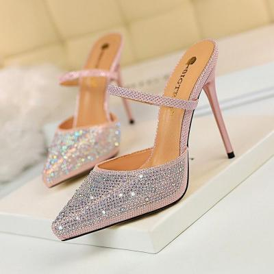 Fashion New Women Slippers Women Pumps Crystal Women High Heels Sandals Sexy Pointed 11cm Wedding Shoes Party Women Shoes