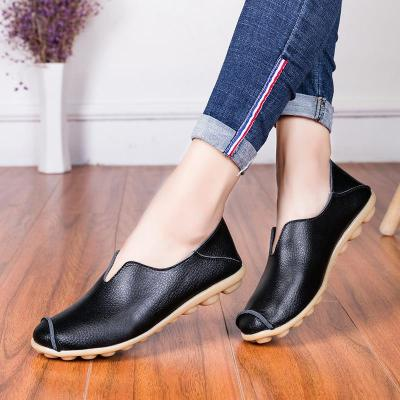 Soft Women Flats New Spring Summer Slip On Casual Women Shoes Comfortable Black Leather Ladies Loafers Plus Size