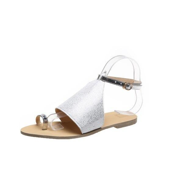 2020 Summer New Woman's Sandals Flat Beach Shoes Open Toe Fashion Comfortable Pure Color Sequins Plus Size 42