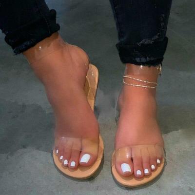 Women Shoes Transparent Cover Flat Female Beach Sandals Waterproof Light Weight Comfort