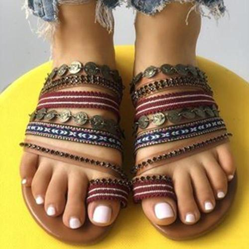 Flat With Toe Ring Slip-On Slippers