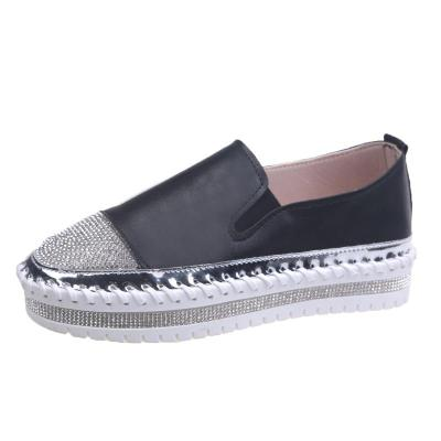 Shining Crystal Plus Size Loafers Women Summer Slip on Platform White Sneakers Shoes Woman Casual Flats