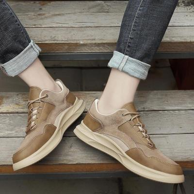 Man Leather Sneakers Summer Autumn Men's Suede Leather Shoe Casual Shoe Khaki Walking Footwear Breathable