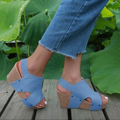 Shoes Woman Sandals Wedges Fashion Womens Flat Open Toe Wedges Thick Bottom