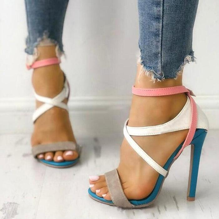 Pumps Women Gladiator Casual Mixed Colors Tie Sandals Fashion Ankle Strap High Thin Heel Shoes