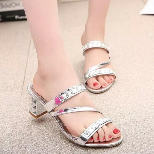 2020 Summer New Sandals Chunky Heel Slipper for Women In Summer