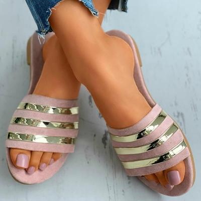Summer Women Slippers Striped Bling Open Toe Reflective Detail Flat Sandals Outdoor Beach Ladies Shoes
