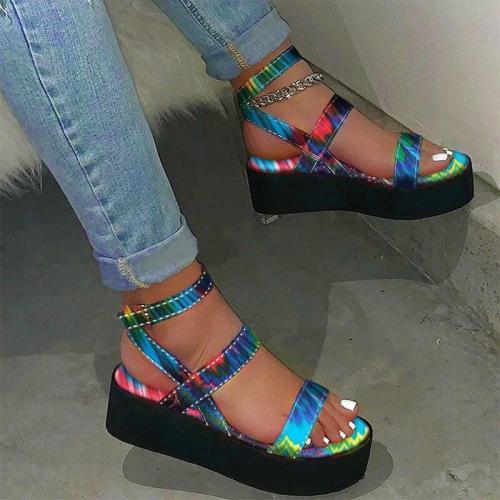 Female Casual Women's Sandals Colorful Flat Platform Summer Print Ladies Ankle Buckle Strap Sandalias