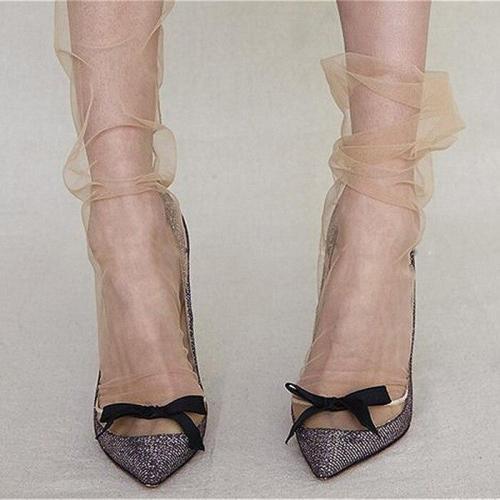 Colors Women's Novelty Ultra-Thin Loose Chiffon Mesh Socks Sexy Ladies Transparent Gauze Socks Piles Sock Sox Female