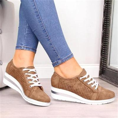 Women Wedge Shoes Summer Autumn Casual Canvas Sneakers Breathable Platform Sneakers Meddle Heel Pointed Toe