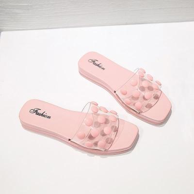 New Fashion Summer Dot Slippers Slides Open Toe Candy Color Beach Slippers Flip Flops Flats Non-Slip On