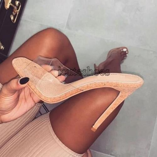 New Summer Sexy Transparent Slippers Sandals Fashion Open Toed Thin Heels Women Slippers