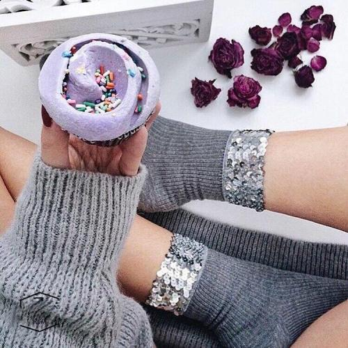 Chic Streetwear Women's Handmade Bling Sequins Socks Casual Female Grey Solid Color Short Socks Ladies Silver Sequin Sox