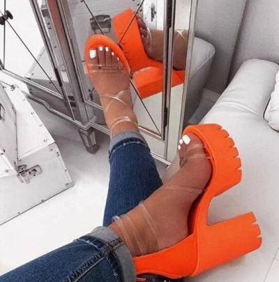 2020 Office Spring Lace Up High Heels Women Fashion High Heels Square Heels Platform Sandals Party Wedding Sandalias